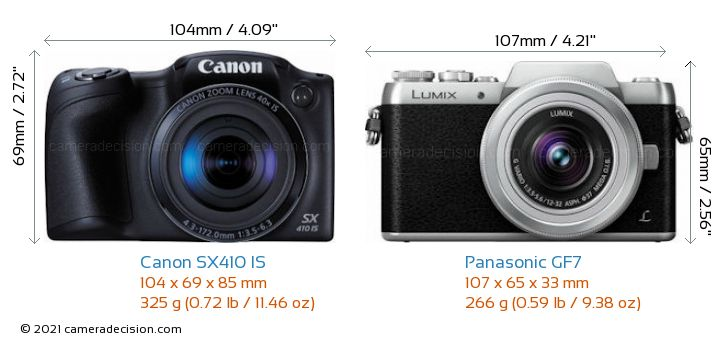 Canon SX410 IS vs Panasonic GF7 Camera Size Comparison - Front View