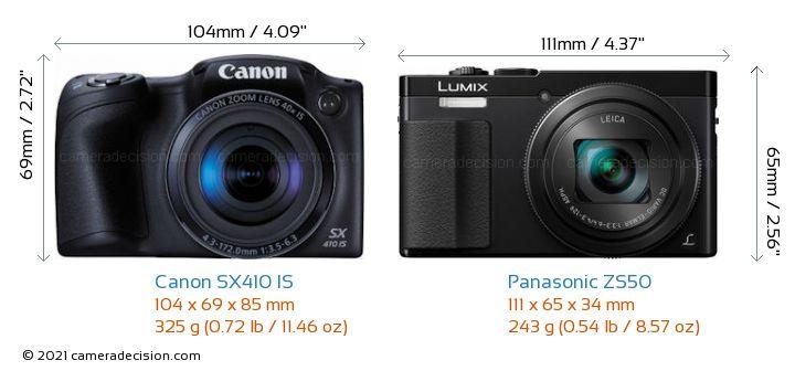 Canon SX410 IS vs Panasonic ZS50 Camera Size Comparison - Front View