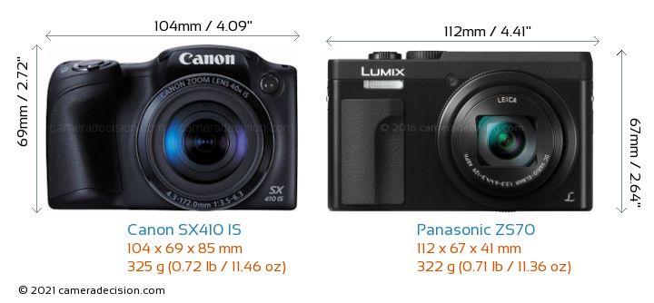 Canon SX410 IS vs Panasonic ZS70 Camera Size Comparison - Front View