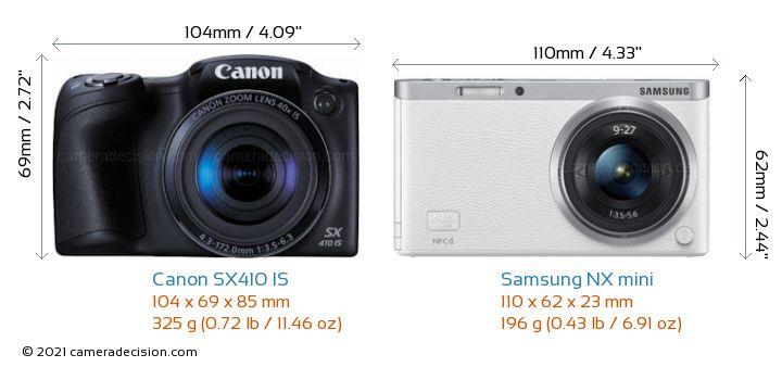 Canon SX410 IS vs Samsung NX mini Camera Size Comparison - Front View