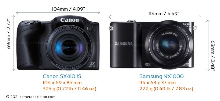 Canon SX410 IS vs Samsung NX1000 Camera Size Comparison - Front View
