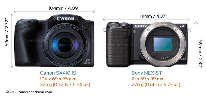 Canon SX410 IS vs Sony NEX-5T Camera Size Comparison - Front View