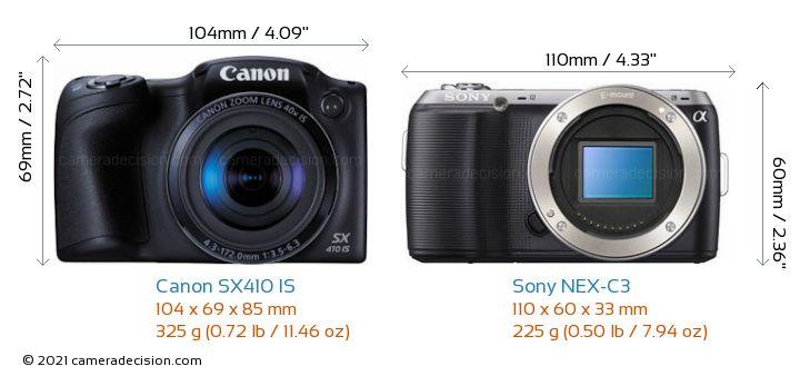 Canon SX410 IS vs Sony NEX-C3 Camera Size Comparison - Front View