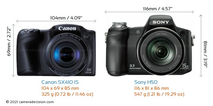 Canon SX410 IS vs Sony H50 Camera Size Comparison - Front View