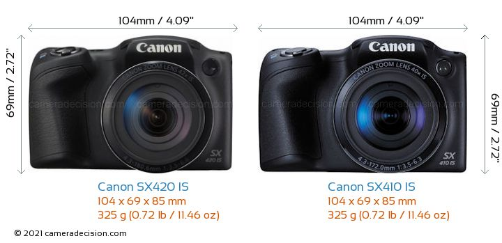 Canon SX420 IS vs Canon SX410 IS Camera Size Comparison - Front View