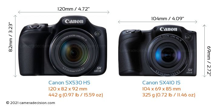 Canon SX530 HS vs Canon SX410 IS Camera Size Comparison - Front View