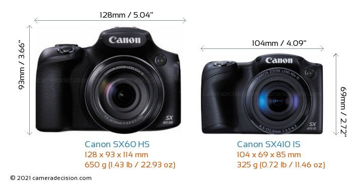 Canon SX60 HS vs Canon SX410 IS Camera Size Comparison - Front View