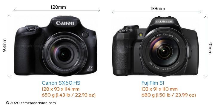 Canon SX60 HS vs Fujifilm S1 Camera Size Comparison - Front View