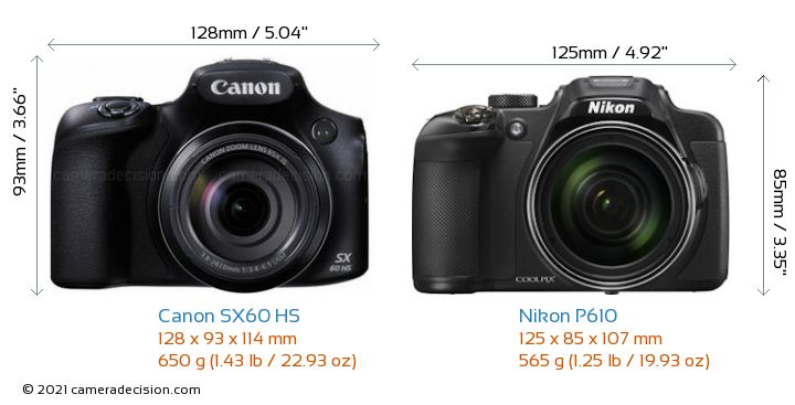 Canon SX60 HS vs Nikon P610 Camera Size Comparison - Front View