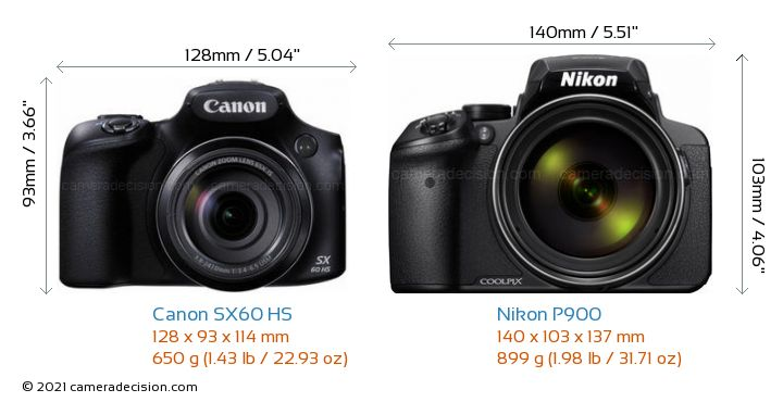 Canon SX60 HS vs Nikon P900 Camera Size Comparison - Front View