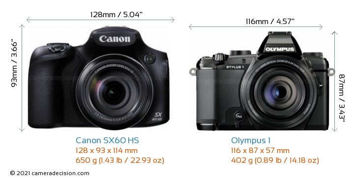 Canon SX60 HS vs Olympus 1 Camera Size Comparison - Front View