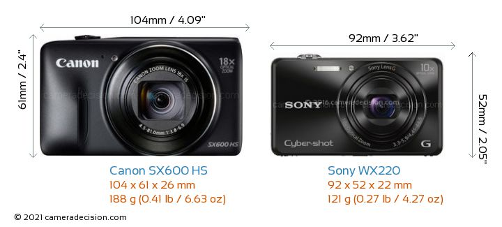 Canon SX600 HS vs Sony WX220 Camera Size Comparison - Front View