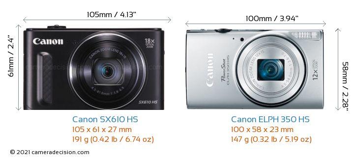 Canon SX610 HS vs Canon ELPH 350 HS Camera Size Comparison - Front View