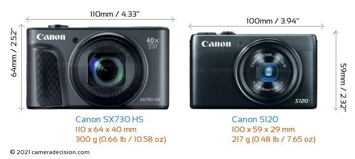 Canon SX730 HS vs Canon S120 Camera Size Comparison - Front View