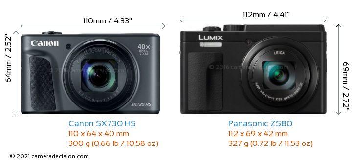 Canon SX730 HS vs Panasonic ZS80 Camera Size Comparison - Front View
