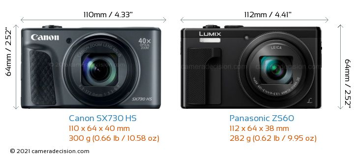 Canon SX730 HS vs Panasonic ZS60 Camera Size Comparison - Front View