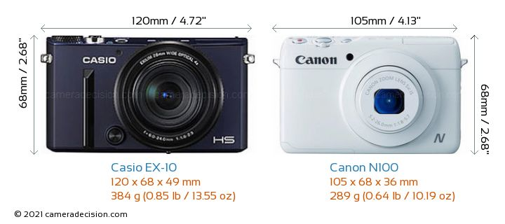 Casio EX-10 vs Canon N100 Camera Size Comparison - Front View