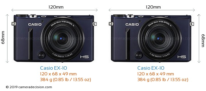 Casio EX-10 vs Casio EX-10 Camera Size Comparison - Front View