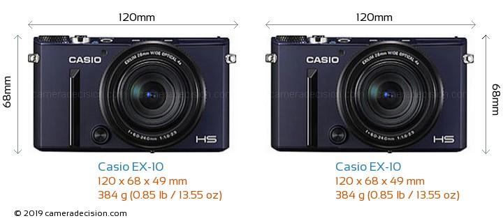 Casio EX-10 vs Casio EX-10 Camera Size Comparison - Front View