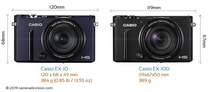 Casio EX-10 vs Casio EX-100 Camera Size Comparison - Front View