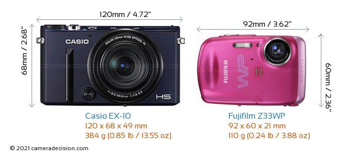 Casio EX-10 vs Fujifilm Z33WP Camera Size Comparison - Front View