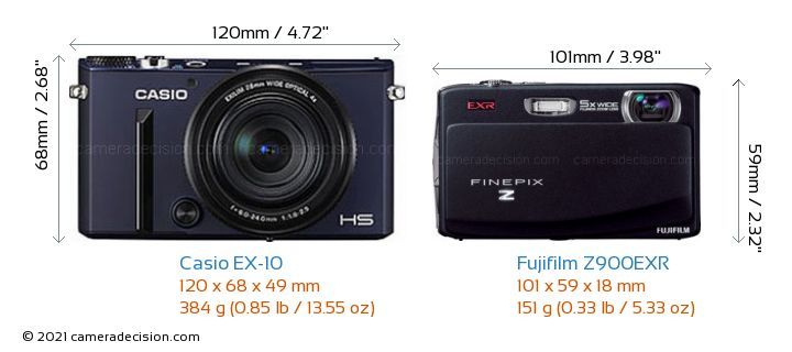 Casio EX-10 vs Fujifilm Z900EXR Camera Size Comparison - Front View
