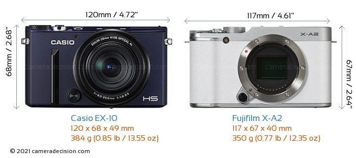 Casio EX-10 vs Fujifilm X-A2 Camera Size Comparison - Front View