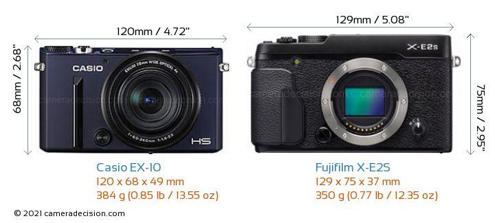 Casio EX-10 vs Fujifilm X-E2S Camera Size Comparison - Front View