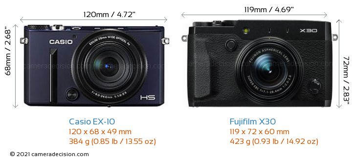 Casio EX-10 vs Fujifilm X30 Camera Size Comparison - Front View