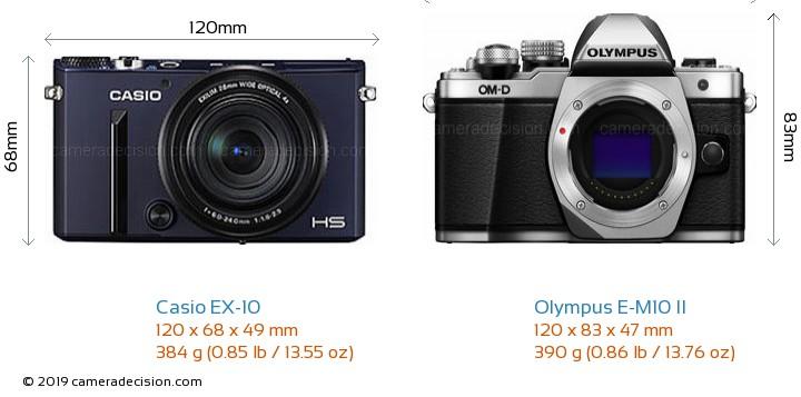 Casio EX-10 vs Olympus E-M10 II Camera Size Comparison - Front View