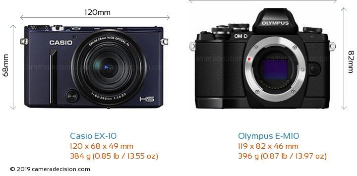 Casio EX-10 vs Olympus E-M10 Camera Size Comparison - Front View