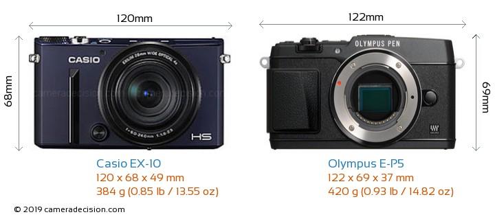 Casio EX-10 vs Olympus E-P5 Camera Size Comparison - Front View