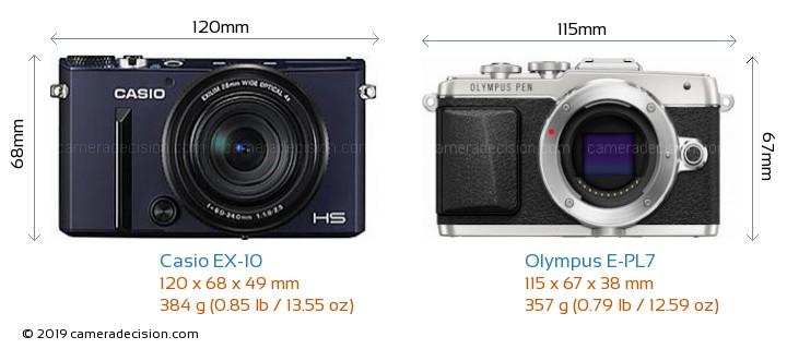 Casio EX-10 vs Olympus E-PL7 Camera Size Comparison - Front View