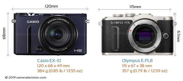 Casio EX-10 vs Olympus E-PL8 Camera Size Comparison - Front View
