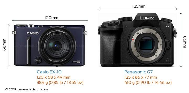 Casio EX-10 vs Panasonic G7 Camera Size Comparison - Front View