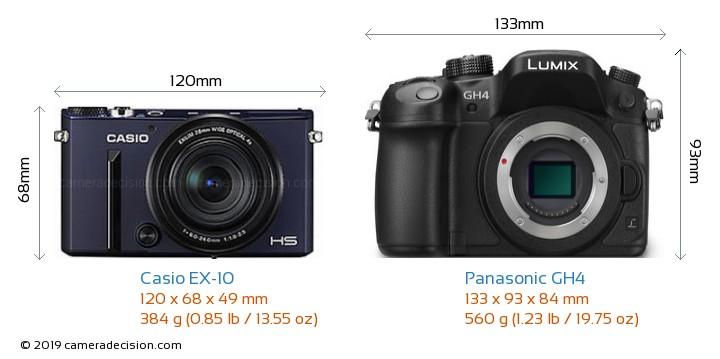 Casio EX-10 vs Panasonic GH4 Camera Size Comparison - Front View