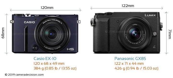 Casio EX-10 vs Panasonic GX85 Camera Size Comparison - Front View