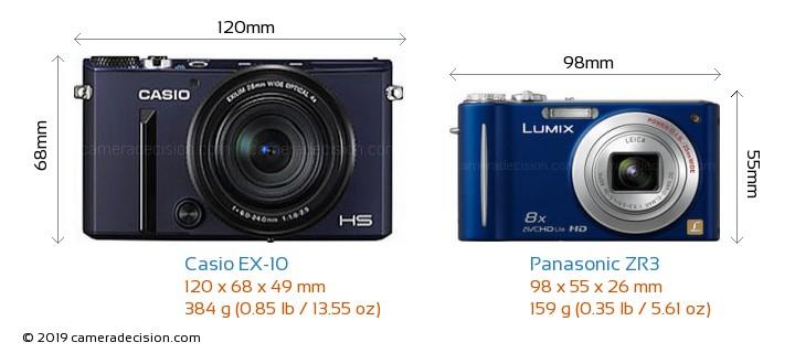 Casio EX-10 vs Panasonic ZR3 Camera Size Comparison - Front View