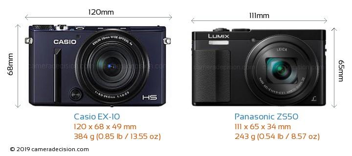 Casio EX-10 vs Panasonic ZS50 Camera Size Comparison - Front View