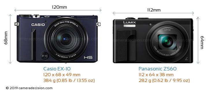 Casio EX-10 vs Panasonic ZS60 Camera Size Comparison - Front View