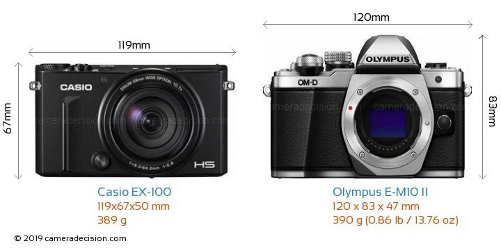 Casio EX-100 vs Olympus E-M10 II Camera Size Comparison - Front View