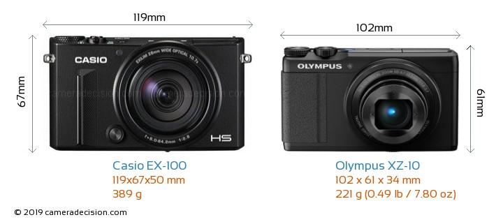 Casio EX-100 vs Olympus XZ-10 Camera Size Comparison - Front View