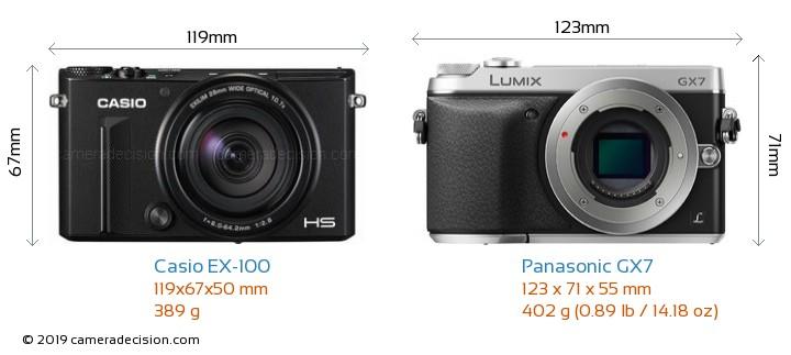 Casio EX-100 vs Panasonic GX7 Camera Size Comparison - Front View
