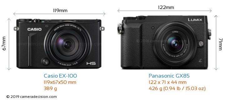 Casio EX-100 vs Panasonic GX85 Camera Size Comparison - Front View