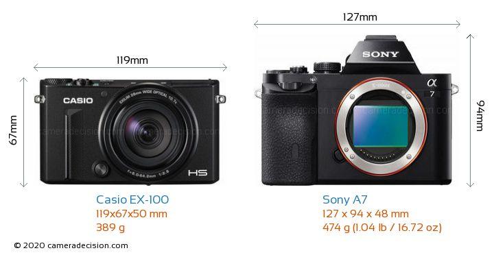 Casio EX-100 vs Sony A7 Camera Size Comparison - Front View