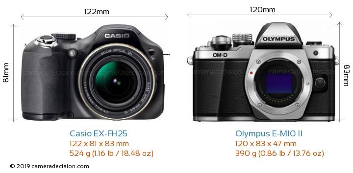 Casio EX-FH25 vs Olympus E-M10 II Camera Size Comparison - Front View