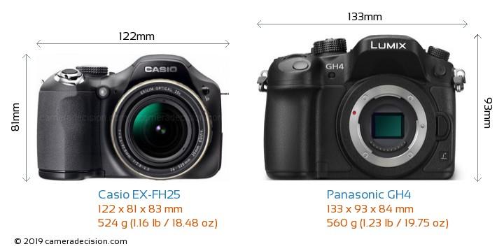 Casio EX-FH25 vs Panasonic GH4 Camera Size Comparison - Front View