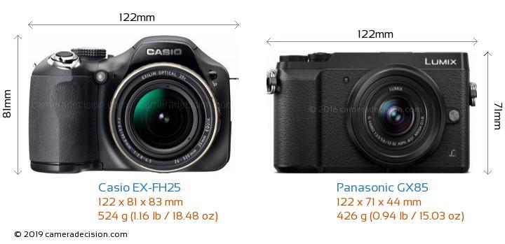 Casio EX-FH25 vs Panasonic GX85 Camera Size Comparison - Front View