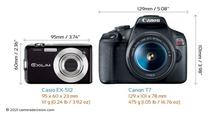 Casio EX-S12 vs Canon T7 Camera Size Comparison - Front View