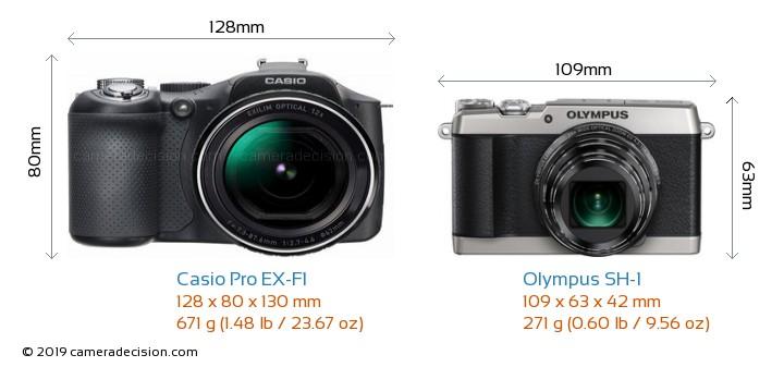 Casio Pro EX-F1 vs Olympus SH-1 Camera Size Comparison - Front View